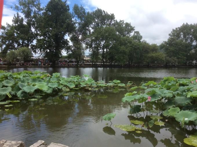 西递湖边学生写生图片