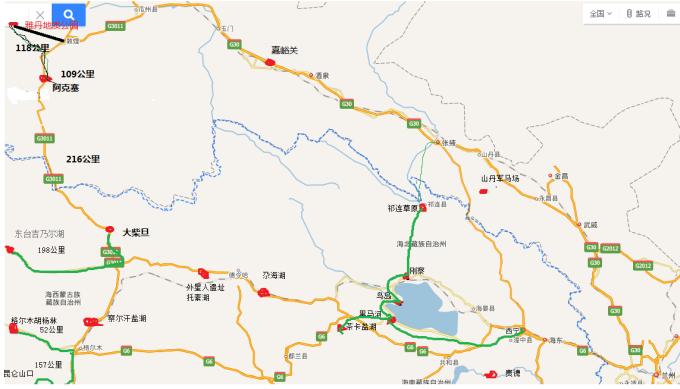 新疆环线手绘地图